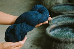 Cotton dye indigo. Indigo is made from natural ingredients. in Thailand.