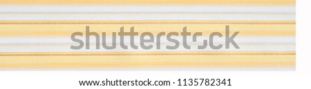 Cotton fabric texture, background, striped, with yellow stripes #1135782341