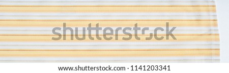 Cotton fabric texture, background, striped, with yellow stripes #1141203341