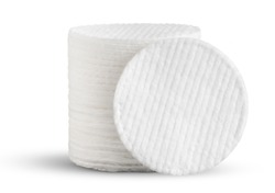 Cotton pads close-up on white. This file is cleaned and retouched.