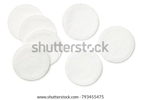 Cotton pads isolated on white background. Top view #793455475