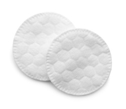 Cotton pads isolated on white, top view