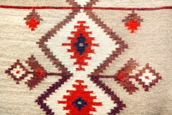 Cotton Rug with traditional pattern . Carpet in romanian style