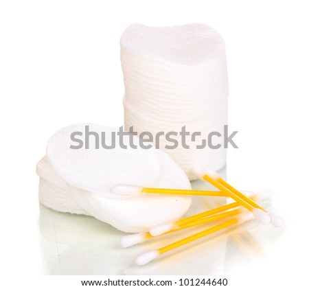 Cotton swabs and sticks isolated on white