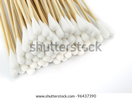 Cotton swabs on white background.
