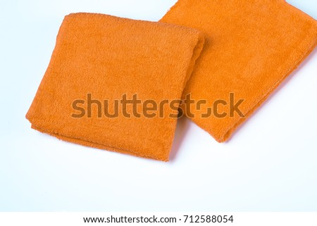 Cotton, textile towel. Hygiene dry bath cloth. Clean, soft, fabric, fluffy bathroom washcloth.