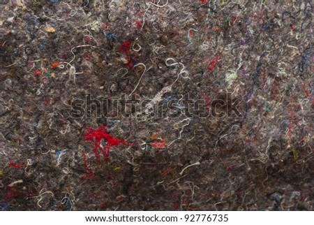 Cotton threads in felt, random abstract texture