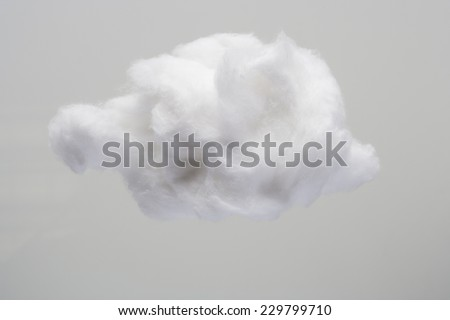 Cotton Wool Cloud isolated in Grey Background with Text Space. Clouds Made of Real Cotton