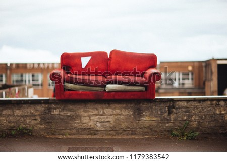 Couch on a wall