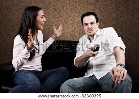 Couch potato and angry wife