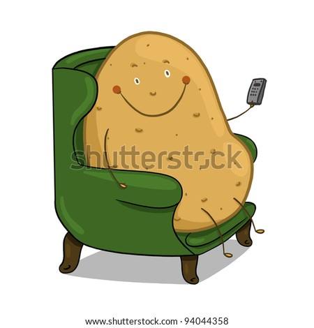 Couch Potato illustration; Smiling potato sitting on a couch holding a remote control