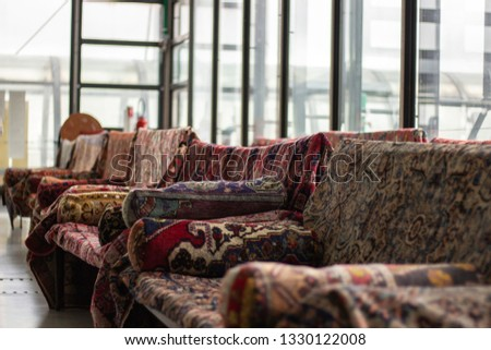 Couches with blankets. Artsy couches.  #1330122008