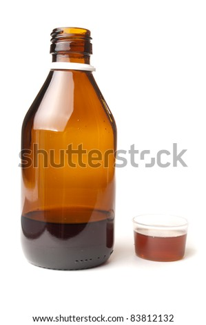 Cough syrup in a bottle with dosage cup for drinking filled up