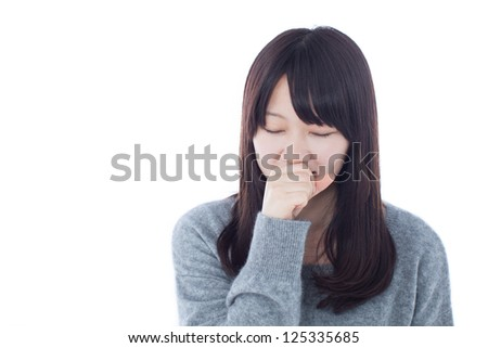Coughing woman isolated on white background