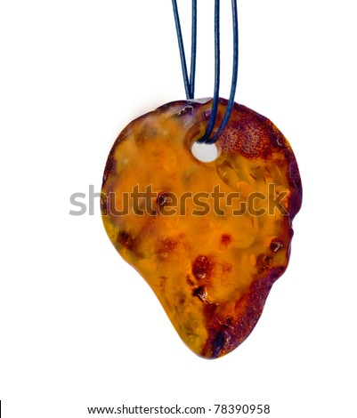 Coulomb of Baltic amber isolated on white background