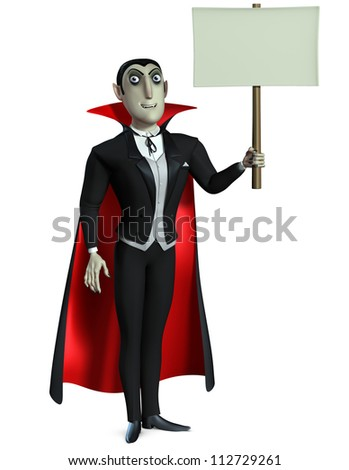 Count Dracula holding blank