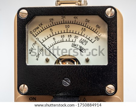 Count per minute scale for radiation contamination and microSIevert per hour scale for radiation dose rate on Dial display of Radiation survey meter