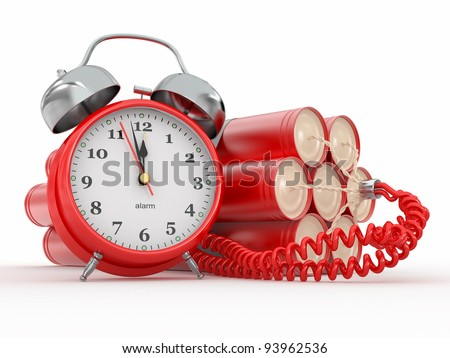 Countdown.  Time bomb with alarm clock detonator. Dynamit. 3d