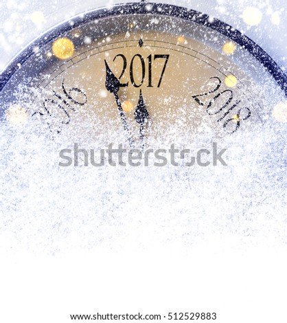 Countdown to midnight. Retro style clock counting last moments before Christmas or New Year 2017. #512529883