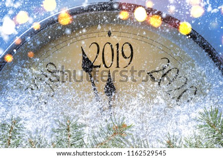 Countdown to midnight. Retro style clock counting last moments before Christmass or New Year 2019. #1162529545