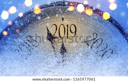 Countdown to midnight. Retro style clock counting last moments before Christmass or New Year 2019. #1165977061