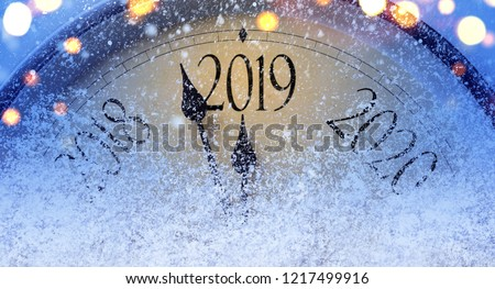 Countdown to midnight. Retro style clock counting last moments before Christmass or New Year 2019. #1217499916