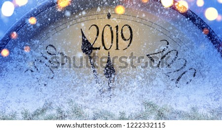 Countdown to midnight. Retro style clock counting last moments before Christmass or New Year 2019. #1222332115