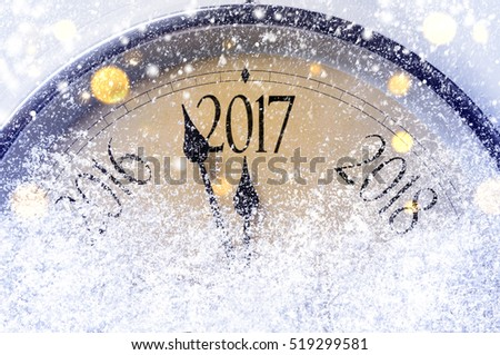 Countdown to midnight. Retro style clock counting last moments before Christmass or New Year 2017. #519299581
