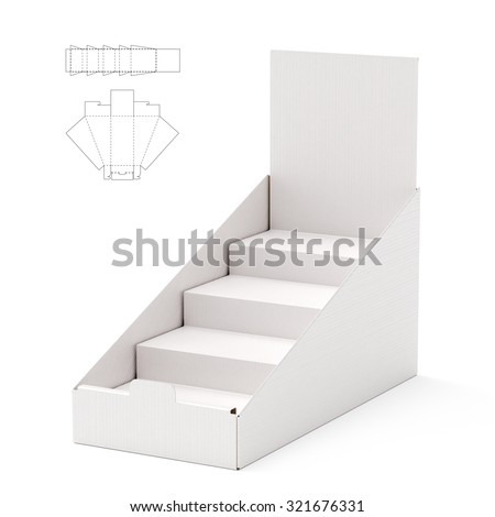 Counter Display Header Shelf Box with Die Line Template