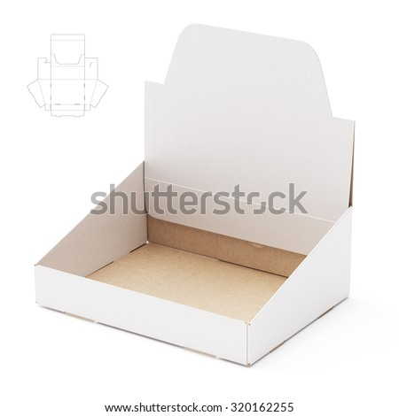 Counter Display Shelf Box with Die Line Template