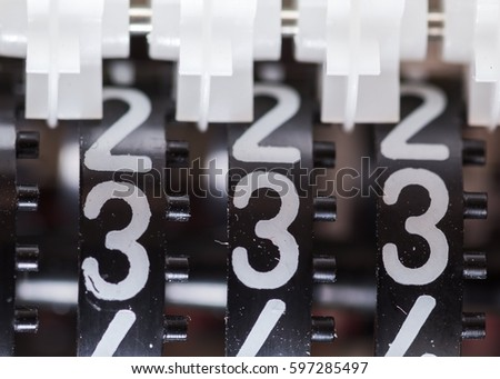Counter numbers closeup, Three identical digits, three hundred thirty three. 333. #597285497