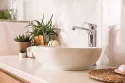 Countertop with sink and houseplants in bathroom. Interior design