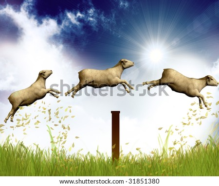 Counting jumping sheep