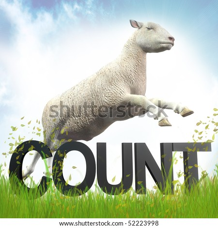 counting jumping sheep or lamb illustration