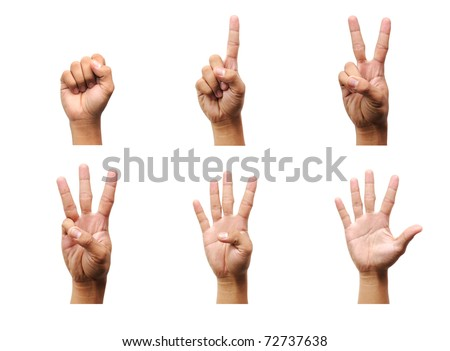 Counting man hands (0 to 5) isolated on white background