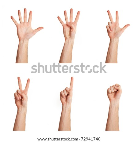 counting man's hand isolated over white background