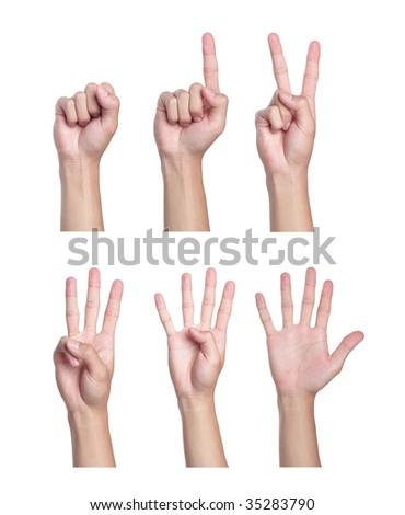 Counting men hands (0 to 5)
