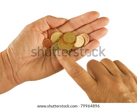 Counting small change aka coins - Euros, Eurozone crisis, poverty, hardship concept