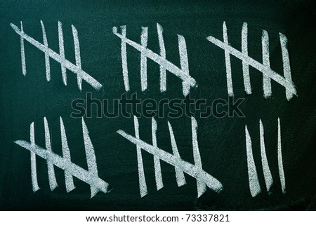 Counting the days on a blackboard