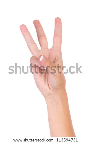 Counting woman hands (3) isolated on white background
