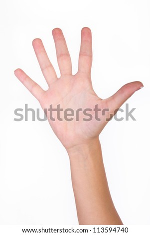 Counting woman hands (5) isolated on white background