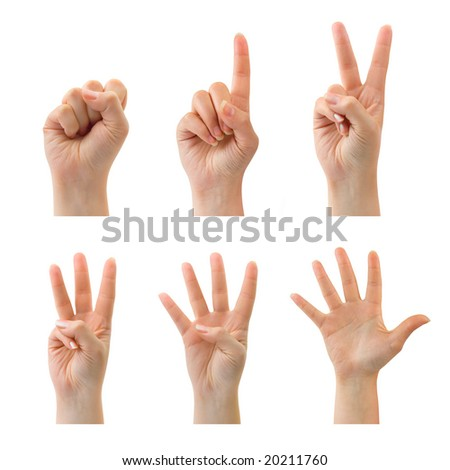 Counting woman hands (0 to 5) isolated on white background