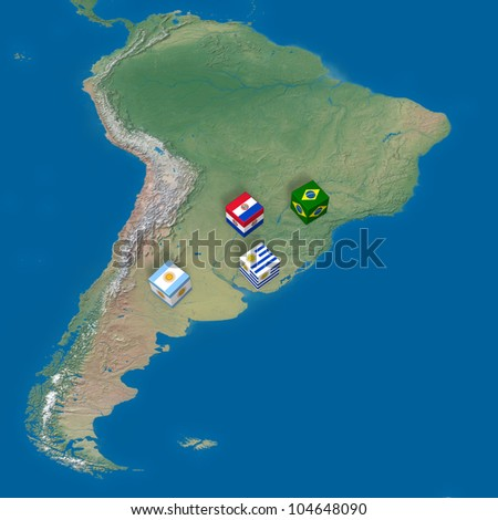 "Countries of ""Mercosul Mercado Comum do Sul"" and blocks with flags. Elements of this image furnished by NASA."