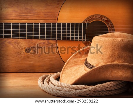 Country american music background with cowboy hat and lasso