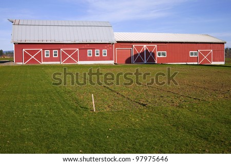 Country barn and storage shed, rural Oregon.