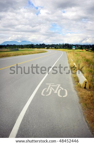 Country bike lane shared with cars on roadway