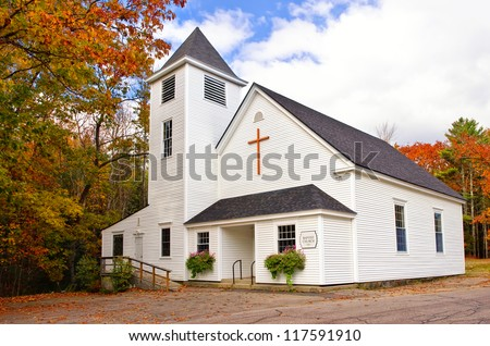 Country church in New England #117591910