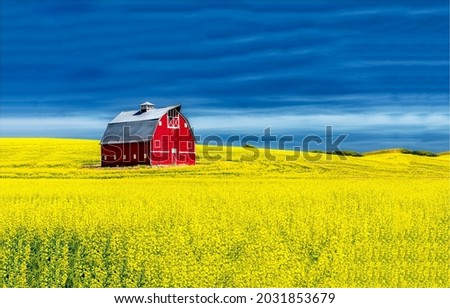 Country field with an old red barn. Old red barn in field. Red barn in field. Old red barn Stock foto ©