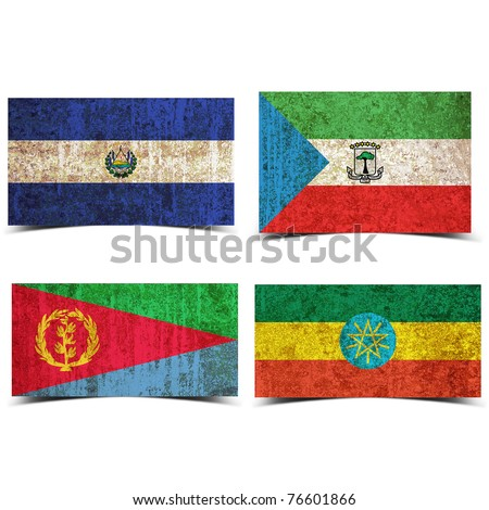 Country flag with grunge old rusty paper elsalvador equatorial guinea eritrea ethiopia