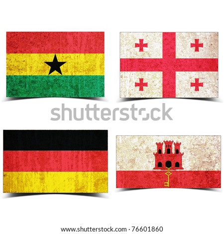 Country flag with grunge old rusty paper Ghana georgia germany gilbratar